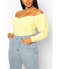 plus off shoulder puff sleeve fitted top, yellow