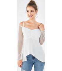 yoins blusa blanca de malla con hombros descubiertos y tirantes finos