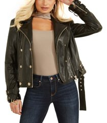 guess faux-leather olivia moto jacket