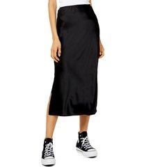 women's topshop slit bias cut satin midi skirt, size 12 us (fits like 14) - black