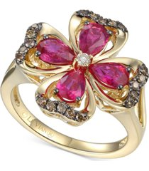 le vian certified passion ruby (1-1/2 ct. t.w.) & diamond (1/5 ct. t.w.) flower statement ring in 14k gold