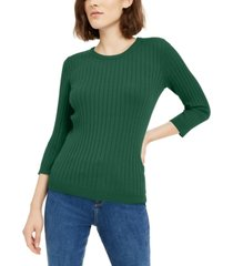 maison jules ribbed crew-neck sweater, created for macy's