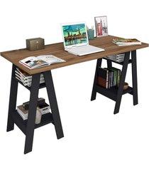 mesa escrivaninha self castanho e preto appunto