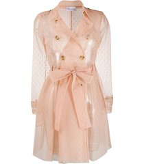 redvalentino point d'esprit tulle trench coat - neutrals