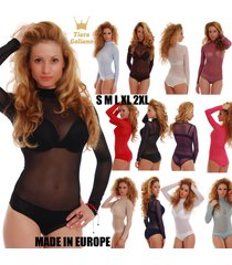 mesh women bodysuit turtle mock neck see through long sleeve bikini 338 tulle eu
