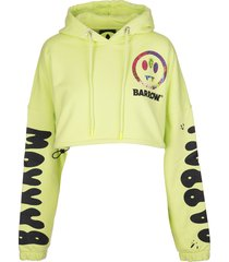 barrow fluo yellow crop hoodie with logo and prints