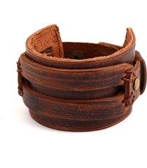 braccialetto di punk del braccialetto del braccialetto del polsino dell'onda di cuoio del braccialetto marrone nero di modo per le donne