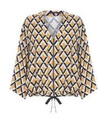 blusa kimono amarração - amarelo