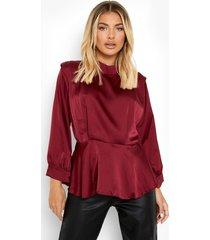peplum blouse met schoudervulling, berry