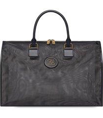 fendi large karligraphy mesh travel bag - black
