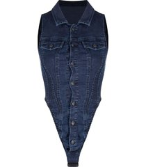 diesel joggjeans denim bodysuit - blue