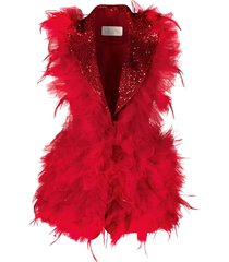 loulou feather-embellished tulle gilet - red
