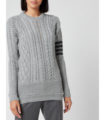 thom browne women's aran cable relaxed crew neck sweatshirt - light grey - it 42/uk 10