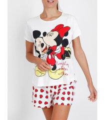pyjama's / nachthemden admas pyjama kort t-shirt love mouse disney ivoor