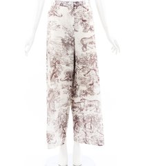 christian dior 2019 toile du jouy cotton wide leg pants beige/brown sz: l