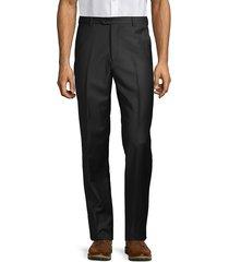 armani collezioni men's solid virgin wool trousers - black - size 48 (32)
