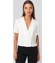 na-kd party blazer buttoned top - white