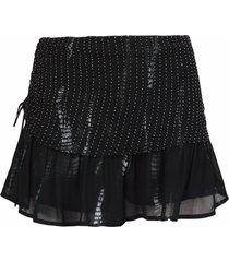 iro lightweight bead-embellished frill shorts - black
