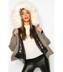 faux fur trim detachable gilet parka, khaki
