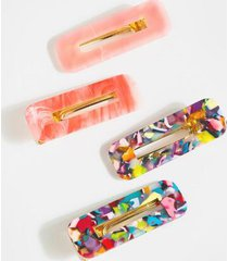 lindsey marble hair clips - pink