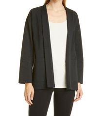 women's eileen fisher high collar jacket, size medium - black