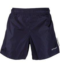 off-white logo-print swim shorts - blue