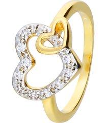 anello placcato oro con cuori con zirconi per donna