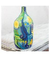 ceramic decorative bottle, 'abstract caribbean' (nicaragua)