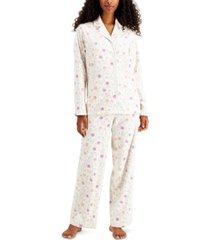 charter club printed fleece pajama set, created for macy's