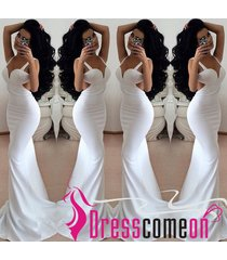 sexy new fashion mermaid spaghetti strap backless white prom dress evening gown