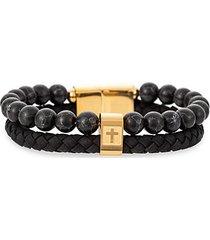 goldtone titanium, leather & agate beads bracelet