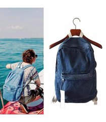 unisex fashion denim travel backpack school bags rucksack casual light blue