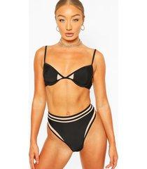 cut out soft cup high waisted bikini, black