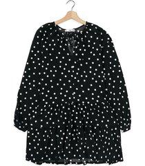 vestido negro-blanco mng