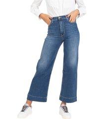 medium denim wide leg jeans