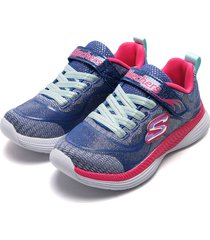 tenis lifestyle azul-fucsia-blanco skechers moven groove