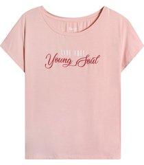 camiseta descanso young soul color rosado, talla m