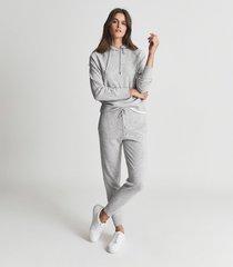 reiss bella - wool cashmere blend hoodie in grey marl, womens, size xl