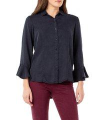 women's liverpool ruffle cuff tencel lyocell shirt, size small - black