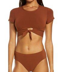 women's robin piccone ava knot front tee bikini top, size x-small - brown