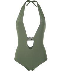 gloria coelho buckle halterneck swimsuit - green