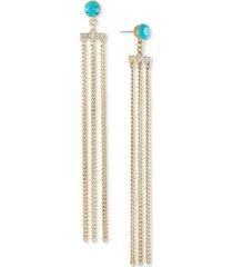 rachel rachel roy gold-tone crystal chain linear earrings