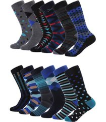 mio marino men's modern collection dress socks pack of 12