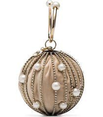 rosantica silver sasha pearl and crystal embellished clutch bag -
