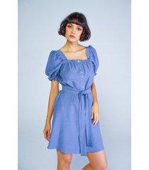vestido adrissa efecto lino escote cuadrado