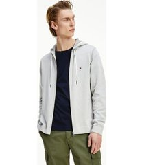 tommy hilfiger men's organic cotton zip hoodie sweater sterling grey - xxl