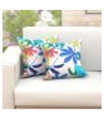 almofada decorativa colorida floral 2 unidades com refil de silicone super macio - tecido jacquard