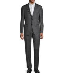 hickey freeman men's milburn iim series regular-fit check wool suit - grey - size 44 l