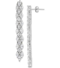arabella cubic zirconia linear drop earrings in sterling silver