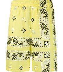 msgm bandana-print straight-leg shorts - yellow